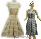 New Ladies Blue White Beige WW2 1930's/40's Vintage style Land Girl Tea Dress