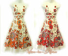 New Retro 1950's Floral Full Skirted Summer Festival Swing Holiday Cotton Dress
