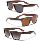 Brown Faux Wood Men Women Vintage 80's Retro Wayfarer Sunglasses Wooden Glasses