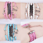 New Hot infinity One direction Heart Leather Cute Charm Bracelet plated Silver
