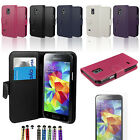 LEATHER FLIP WALLET STAND CASE COVER FOR SAMSUNG  S5 MINI WITH FREE SCREEN & PEN