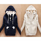 Lovely Bear Drawstring Long Sleeve Womens Zip Up Hoodies Outwear Sweats Pockets