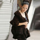 100% Real Genuine Knitted Mink Shawl scarf Cape Stole Jacket Party Evening Warm