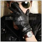 Mens Driving Motorcycle Strap Black Kid Genuine Leather Warm Lined Winter Gloves