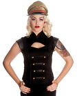 Hell Bunny Black Watch Gothic Steampunk VTG Military Copper Button Corset Top