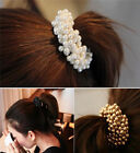 Fashion Charming Women Pearls Beads Hair Band Rope Scrunchie Ponytail Holder