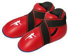 Kick boxing boots Red semi / full contact foot pads rex leather thai boxing mma