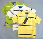 TOMMY HILFIGER TOP POLO SHIRT BOYS SZ 2T 3T STRIPED WHITE YELLOW GREEN NEW
