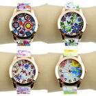 New Stylish Silicone Band Flower Print Jelly Sports Quartz Wrist Watch