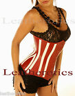 LEATHER CORSET 1836 red white waist belt STEEL BONED BACK LACING waspie top