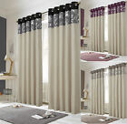 """Monaco""  Ring Top Eyelet Designer Fully Lined Ready Made Curtains In 3 Cols"