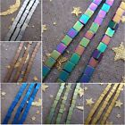 Hot 2-4mm Gold Rainbow Blue Green Coppery Silver Matte Hematite Stone Cube Beads