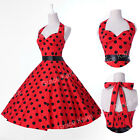 STOCK 50s 60s Polka Dot Floral gown Retro Vintage Hot Swing Prom Party Tea Dress