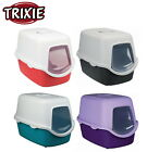 TRIXIE VICO EASY CLEAN HOODED CAT KITTEN MESS LITTER TRAY 4 COLOURS AND FLAP NEW