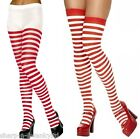 Ladies Red and White Striped Wheres Wally Christmas Fancy Dress Tights Stockings