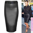 NEW WOMEN BODYCON WET LOOK PU STRETCH WAIST PENCIL SKIRTS LADIES SKIRT LONG