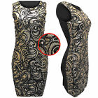 NEW WOMENS LADIES SEQUINS PAISLEY DRESS BODYCON BLACK PARTY SLEEVELESS LONG TOP