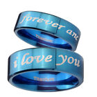 Blue IP Titanium I Love you forever and ever Pipe Cut Engraved Ring SZ 4-13