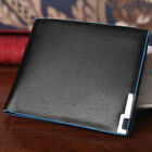 Men Leather Wallet Card Clutch Purse Pockets Cente Bifold Money Clip Black