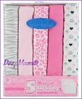 RECEIVING BLANKETS SET 5 COTTON FLANNEL PACK BABY BOYS GIRLS UNISEX DOTS NEW