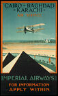 Vintage Imperial Airways- Cairo print poster, large 4 sizes available