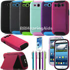 Dual Layer Hybrid Credit Card Case Holder Shockproof Cover For Samsung Galaxy S3