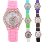 New Women's Girls' Rose Pattern Dial Silicone Band Wrist Watch Fashion