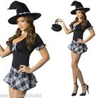 Ladies Sexy School Girl Witch Halloween Fancy Dress Costume Outfit UK 8-13