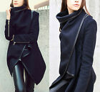 Fashion Women's Zipper PU Warm Long Coat Jacket Trench Windbreaker Parka Outwear
