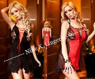 Black and Red Lace Panel Babydoll Plus Size Lingerie 8 10 12 14 16 18 20 22 24