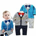 Baby Boy Formal Dressy Striped Gentleman Romper Jumpsuit Bodysuit Clothes Outfit