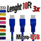 3x 10Ft Micro USB Data Sync Charger Cable Cord for any android phone samsung