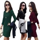 Women Sexy Long Sleeve Slim Fitted Short Dress Knitted Cotton Autumn Bodycon LUl