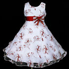140818w138 UkW White Halloween Burgundy Birthday Party Flower Girls Dress 2-12y