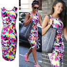 New Ladies Summer Midi Dress Slim Fit Pencil Bodycon PLUS SIZE 8 10 12 14 16