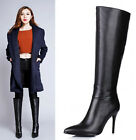 Womens Black Genuine Leather Pointed Toe High Heel Knee High Boots Shoes 666-2