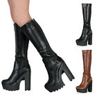LADIES CLEATED GRIP SOLE WOMENS ELASTIC PANLES ZIP UP HIGH HEEL BOOTS SIZE 3-8