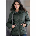Forest Green Down Padded Puffa Jacket, Size 14 16 New £115 Quilted Short Coat