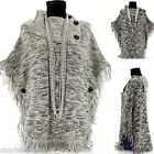 CharlesElie94 ALPHONSINE Women's Winter Wool Knitted Jumper Poncho Cape AU 10-22