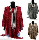 CharlesElie94 BENEDICTE Womens Leopard Print Winter Knitted Poncho Cape AU 10-20