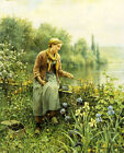 "DANIEL RIDGWAY KNIGHT ""Fishing on a Spring Day"" quiet RIVERBANK woman rod NEW!"
