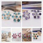 1pair Women Silver,Gold Tone colorful Sunflower Crystal Stud Earrings jewelry