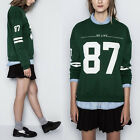 New Women Crew Neck Letters printed long-sleeved Sweater Pullover Sweatshirt Top