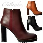 Womens Chelsea Mid Low Block Heel Platform Winter Ankle Boots Black Tan Bordo