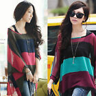 Hot Women Stripe Irregular Batwing Sleeve Chiffon  Tee shirt Blouse Tops + Vest