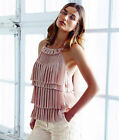 H&M Conscious Powder Pink Pleated Tiered Frilled Cami Top Blouse New UK 12 14