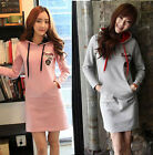 Fashion Women Hoodie Hooded Shirt Tops Long Pullover Sweatshirt Slim Mini Dress