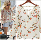Fashion Women Korean Casual Loose Long Sleeve Chiffon  Shirt Blouse White Tee