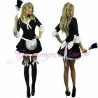 French Maid Victorian Fancy Dress Costume Ladies Outfit Plus Size 6-20 Waitress