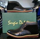Mens Designer Dress Casual Lace Up Sergio Duletti Leather Boots in Black